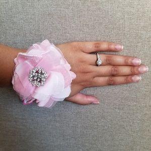 Betsey Johnson Pink Rose Rhinestone Tie Bracelet